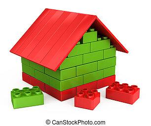 gra, dom, kawałki, dzieci, plastyk, 3d