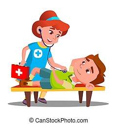 gra, dostarcza, nieprzytomny, doktor, odizolowany, ilustracja, ława, drugi, vector., dziecko, pomagać, dziewczyna, leżący, pierwszy
