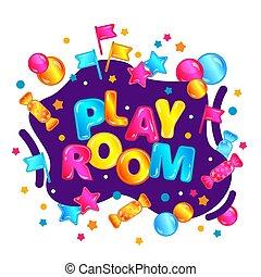 gra, dzieciska pokój, isolated., styl, ilustracja, jasny, wektor, chorągiew, rysunek