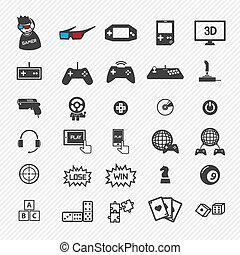 gra, eps10, set., ilustracja, ikony
