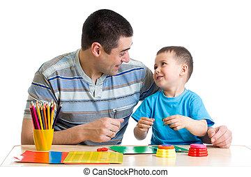 gra, glina, ojciec, razem, dziecko