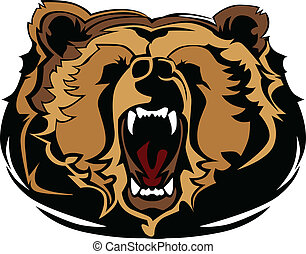 gra, grizzly beer, hoofd, vector, mascotte