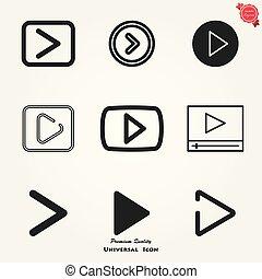 gra, guzik, ikona, w, modny, płaski, styl