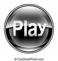gra, ikona, czarnoskóry, odizolowany, na białym, tło