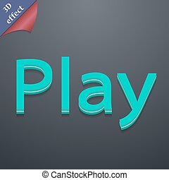 gra, ikona, symbol., 3d, style., modny, nowoczesny, projektować, z, przestrzeń, dla, twój, tekst, wektor