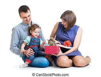 gra, jej, kot, rodzice, kociątko, dziewczyna, koźlę