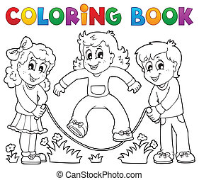 gra, kolorowanie, dzieciaki, 1, temat, książka