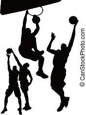 gra, koszykówka, człowiek