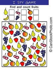 gra, matematyka, przedszkole, oświatowy, rozwój, numeracy, attention., szpieg, zręczności, kids., preschool., -, szkoła, owoce, worksheet