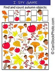 gra, matematyka, przedszkole, oświatowy, rozwój, obiekty, numeracy, attention., szpieg, zręczności, kids., jesień, preschool., -, szkoła, worksheet