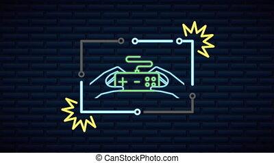 gra, neon, panowanie, ściana, lekki, video