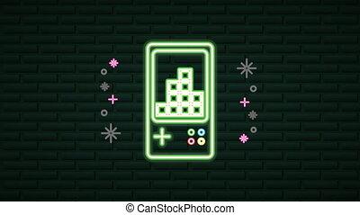 gra, neon, rączka, ściana, urządzenie, lekki, video
