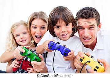 gra, ożywiony, video, interpretacja, rodzina