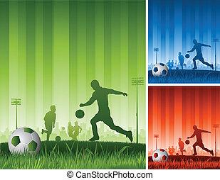 gra, piłka nożna, tło