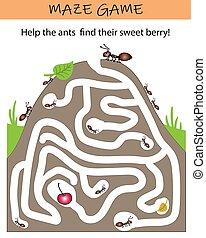 gra, puzzle., przedszkole, oświatowy, kids., zdezorientować, preschool, school., mrówka, worksheet