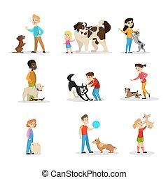 gra, set., zbiór, dzieci, ich, szczęśliwy, psy, koźlę