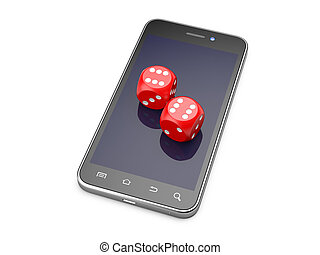 gra, smartphone, concept., gra, online, dices.