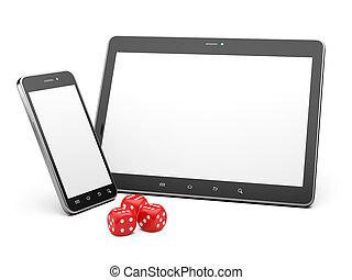gra, smartphone, tabliczka, concept., gra, online, dices.