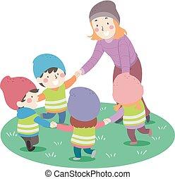 gra, szwecja, dzieciaki, ilustracja, natura, nauczyciel