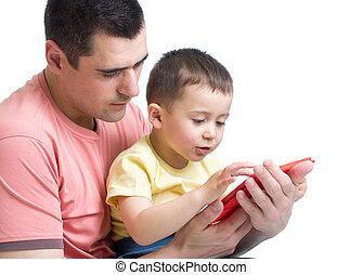 gra, tabliczka, być w domu, ojciec, syn, komputer, koźlę