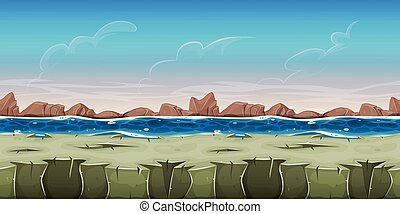 gra, ui, seamless, krajobraz, ocean