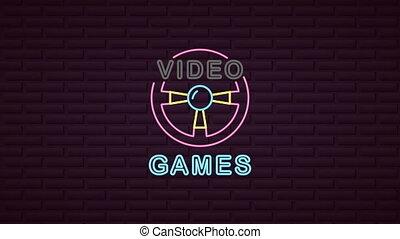 gra, wóz, neon, panowanie, ściana, koło, lekki, video
