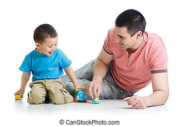 gra, wóz, ojciec, razem, zabawki, koźlę
