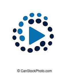 gra, wektor, logo., ilustracja, w, wektor, format