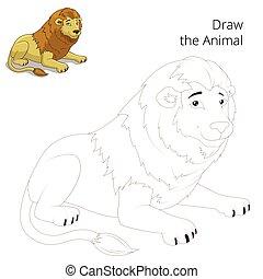 gra, wektor, zwierzę, lew, zaciągnąć, oświatowy