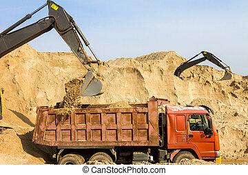 graafwerktuig, inlading, dumper vrachtwagen