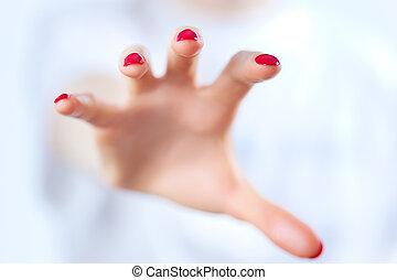graaiende, hand