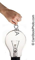 graaiende, woord, idee, hand