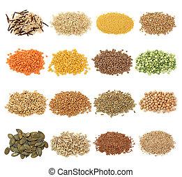graan, en, zaden, verzameling