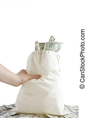Grab and Go - Canvas mony sack with one hundred dollar bills...