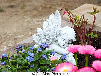 grab, engel, und, blüten
