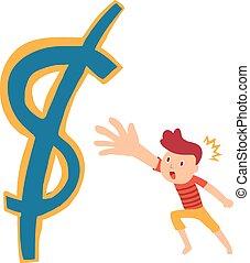 Grab money cartoon concept