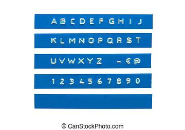 graba relieve, alfabeto, en, azul, plástico, cinta, aislado, blanco