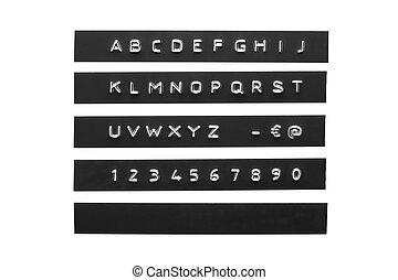 graba relieve, alfabeto, en, negro, plástico, cinta