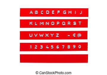 graba relieve, alfabeto, en, rojo, plástico, cinta, aislado, blanco