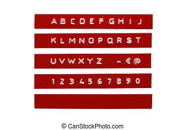 graba relieve, alfabeto, en, rojo, plástico, cinta