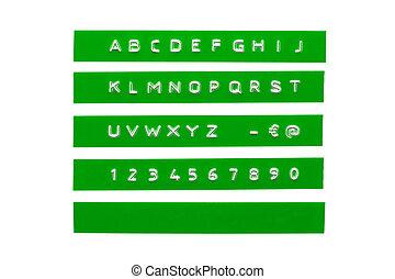 graba relieve, alfabeto, en, verde, plástico, cinta