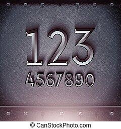 graba relieve, vector, metal, números