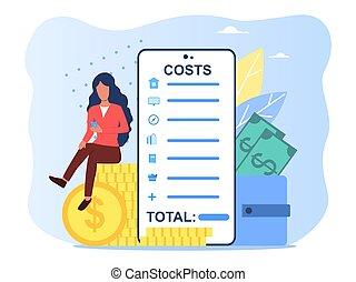 grabación, aplicación, gastos