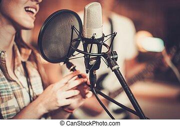 grabación, cantante, mujer, estudio