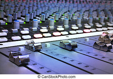 grabación, mezclar, estudio, consola