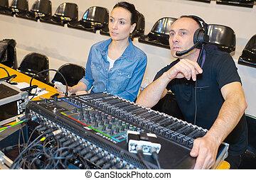 grabación, mezclar, estudio, escritorio