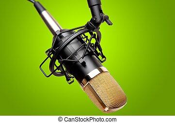 grabación, micrófono, estudio