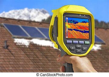 grabación, paneles solares, con, termal, cámara