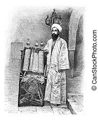 grabado, alto, vendimia, yemen, sacerdote, amran