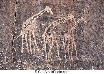 grabado, antiguo, desierto de sahara, roca